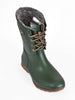 Olive green mid-height lace-fronted wellington boot - top view - Ellie Dickins Shoes