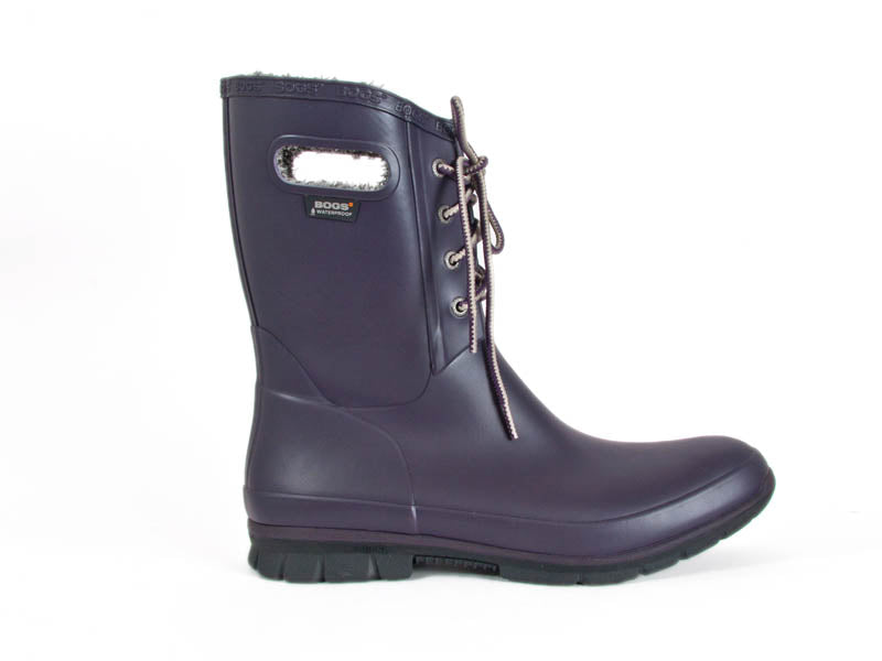 purple lace front mid height wellington boots - side view - Ellie Dickins Shoes