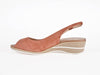 Peep toe wedge slingback