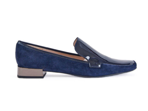 Loafer in nubuck & patent