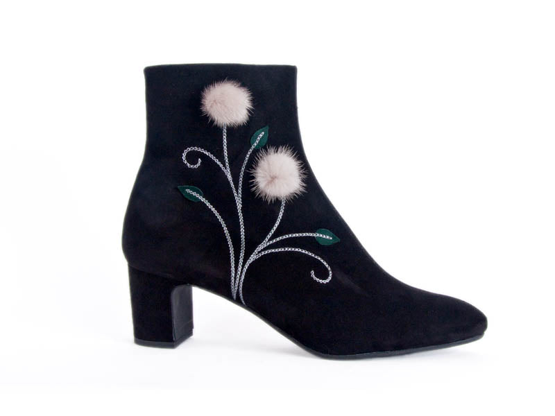Boot with fluffy trim