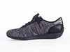 side view of black marled fabric, black soled and laced up trainer