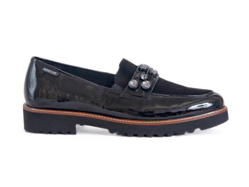 Black patent leather and suede loafers, with jewelled bar across the foot, think tan stitched sole on top of a black crepe style gripping sole.