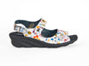 White and multicoloured adjustable strap sandal on black wedge mid-height heel - Ellie Dickins Shoes