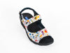 White and multicoloured adjustable strap sandal on black wedge mid-height heel - top view - Ellie Dickins Shoes