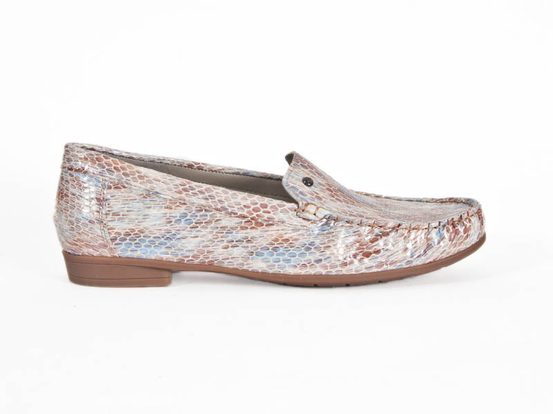 Snake print leather moccasin