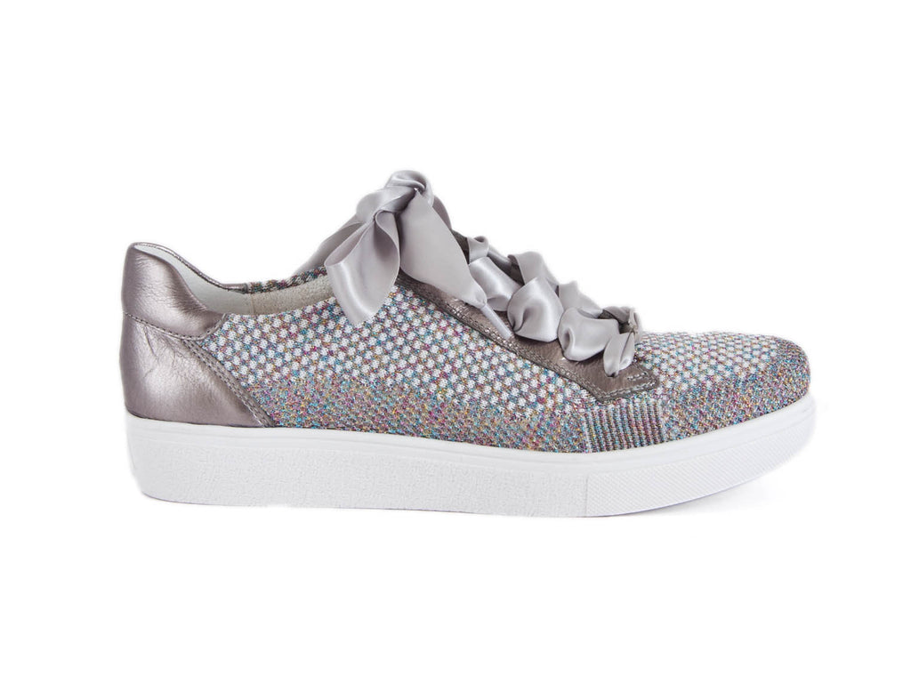 silver fabric with leather trim and satin feature laces, trainer style shoe - right side view