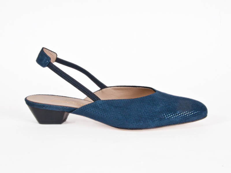 Dotty navy leather slingback