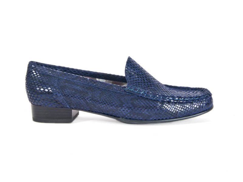 Mock snakeskin navy leather moccasin