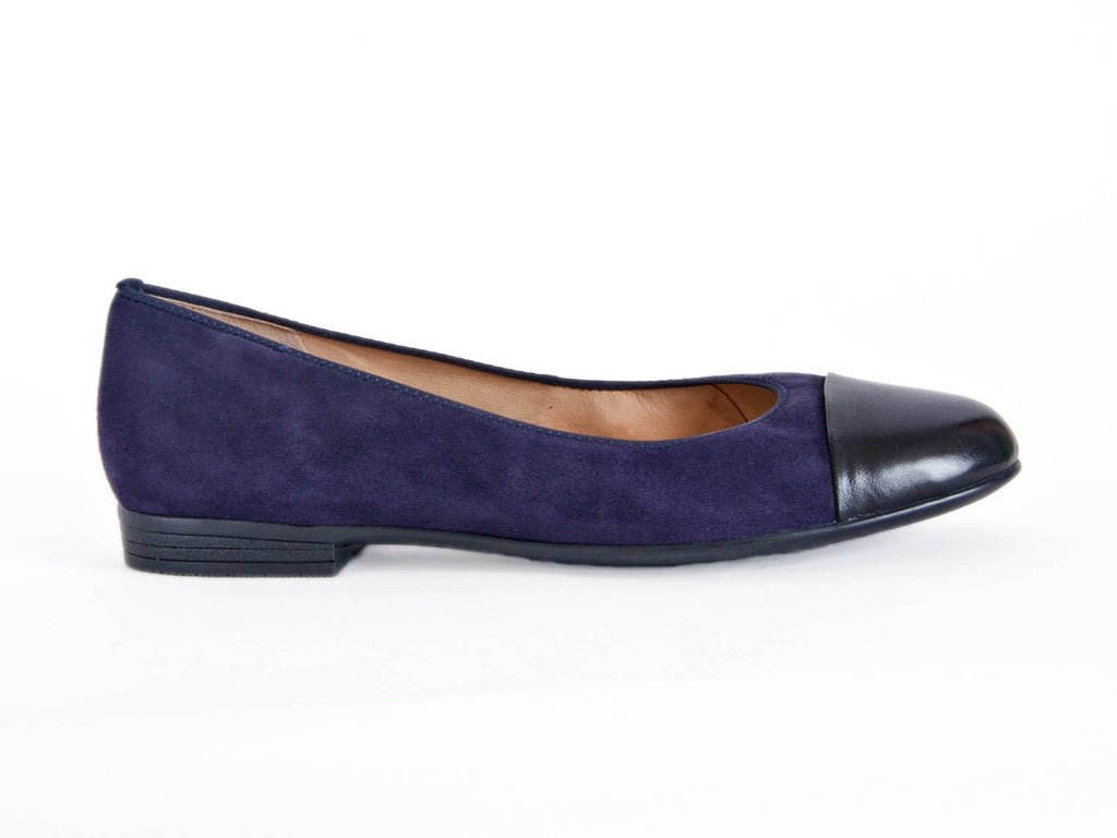 Ara suede pump leather toe