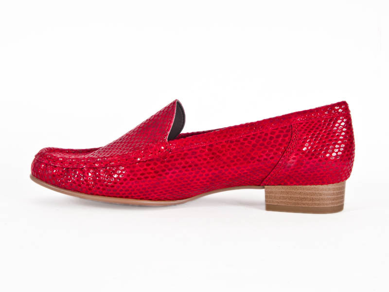 f777e3a7e94 Ladies red leather snakeskin effect moccasin shoes - side view - Ellie  Dickins Shoes