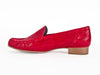 Ladies red leather snakeskin effect moccasin shoes - side view - Ellie Dickins Shoes
