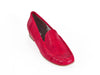 Ladies red leather snakeskin effect moccasin shoes - top view - Ellie Dickins Shoes