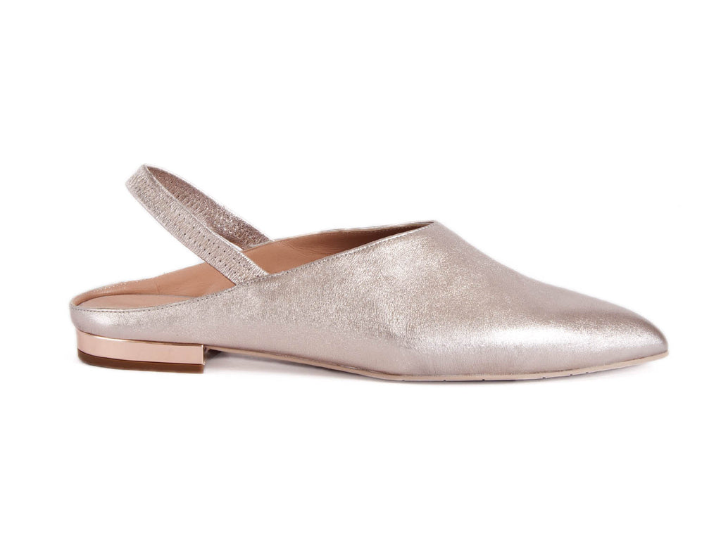 Mule in pink metallic leather