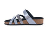 side view of Strappy silver sandals with a flat moulded footbed and adjustable strap
