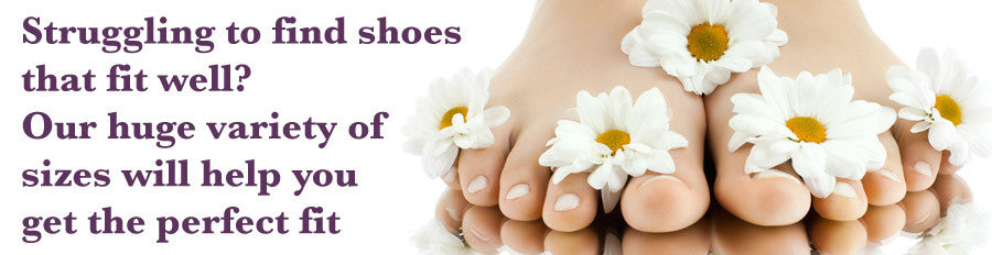 bare feet with daisies, and a message to let you know if you struggle to find shoes that fit well, you've come to the right place