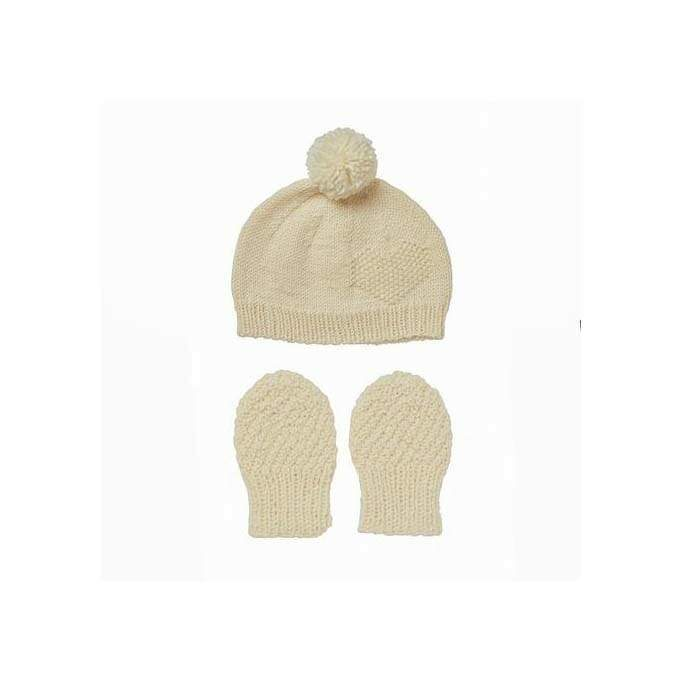 Acorn Heart Beanie & Mitten Set Cream