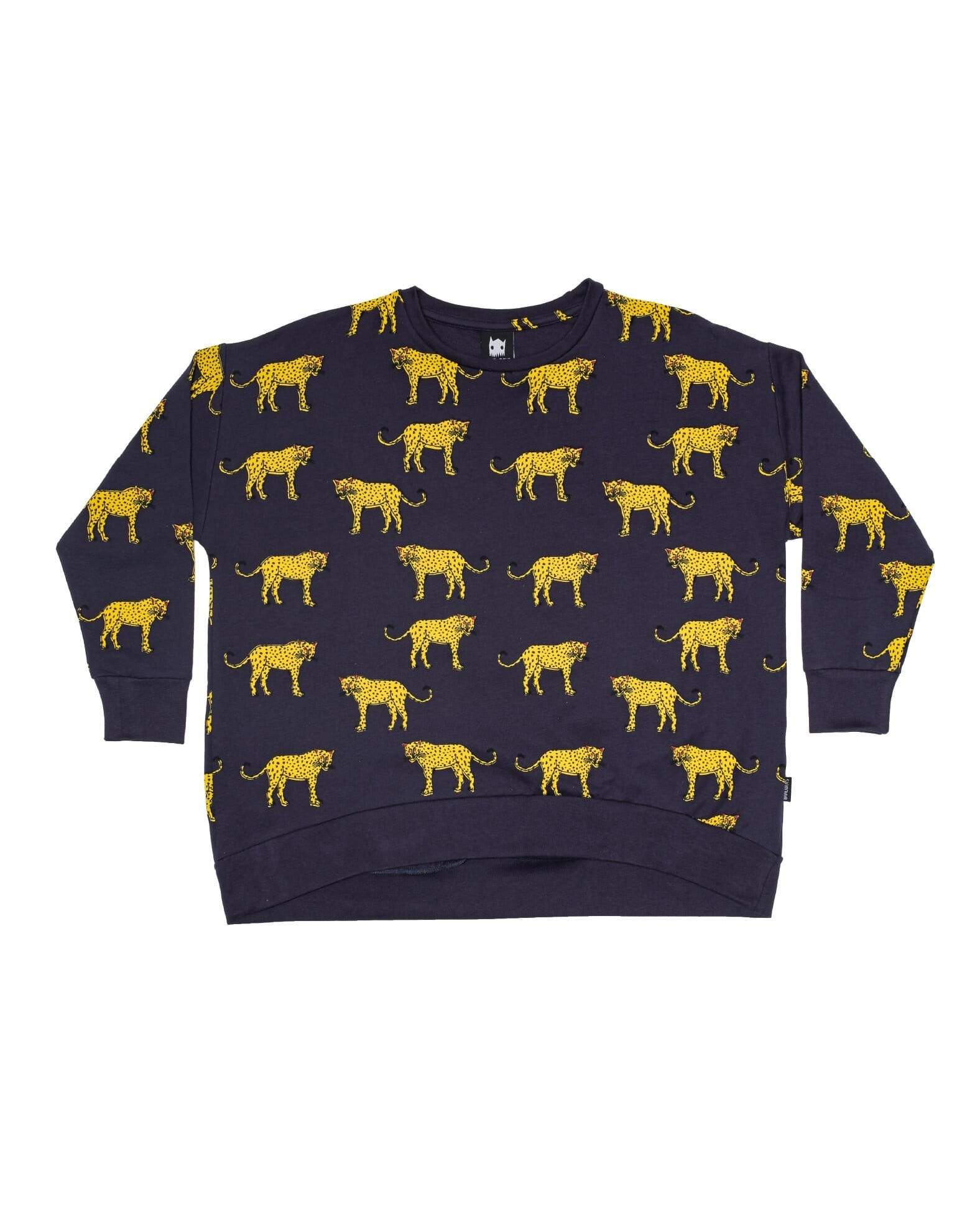 Yellow & Black Leopard Oversized Jumper - Navy