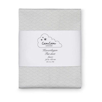Cam Cam Sheets Grey Wave Cam Cam Fitted Cot Sheet