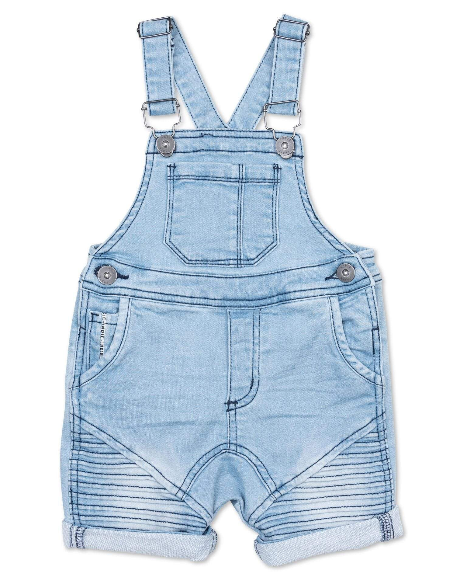 Indie Kids Jeans 000 Indie Kids Styled Short Dungaree Mid Denim
