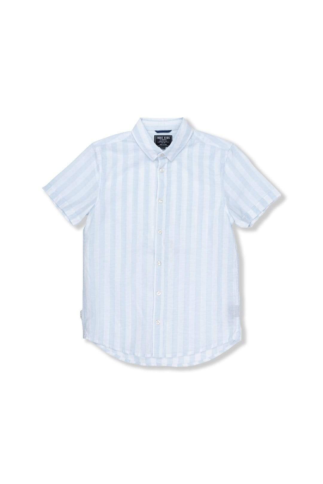 Linen Stripe SS Shirt - Light Blue