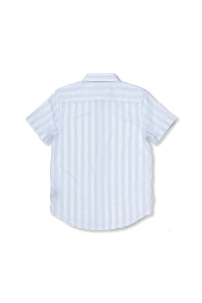 Indie Kids Shirt Linen Stripe SS Shirt - Light Blue