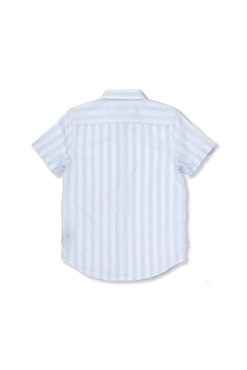 Indie Kids Shirt 3 Linen Stripe SS Shirt - Light Blue