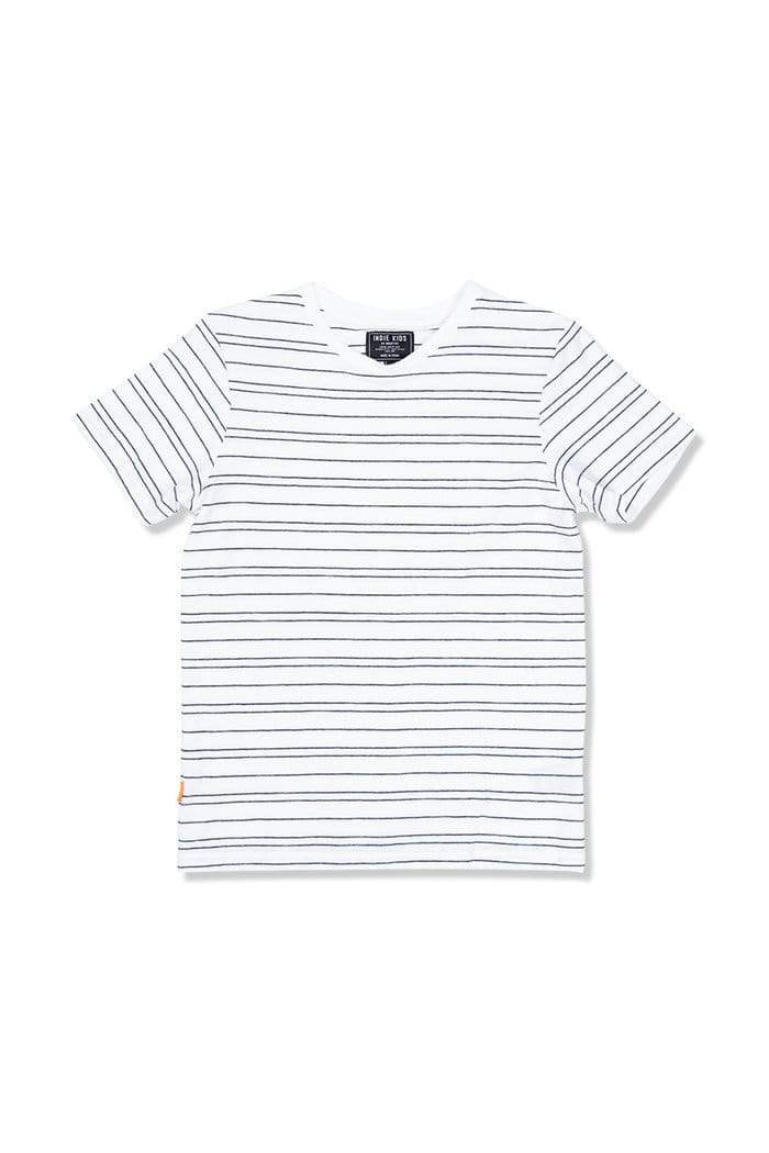 Double Tram Stripe Tee - White