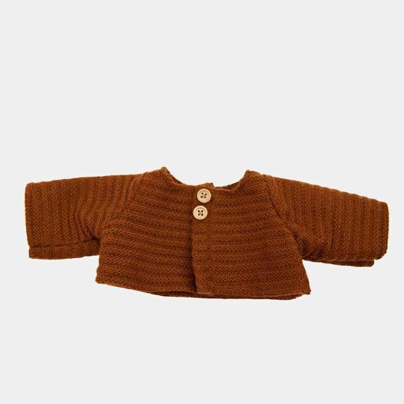 Olli Ella Toys Dinkum Dolls Single Cardigan - Chestnut