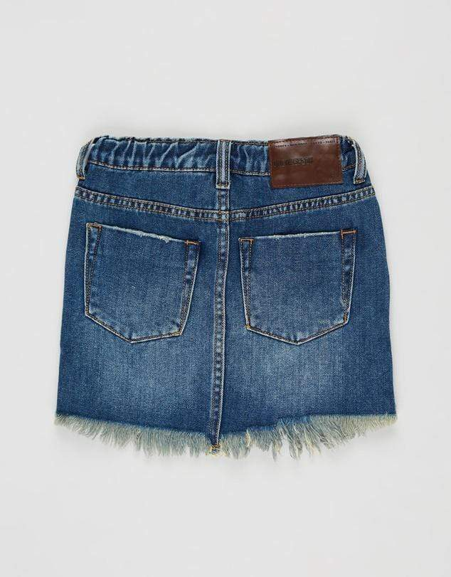 2020 Mini High Waist Denim Skirt - Dirty Indigo