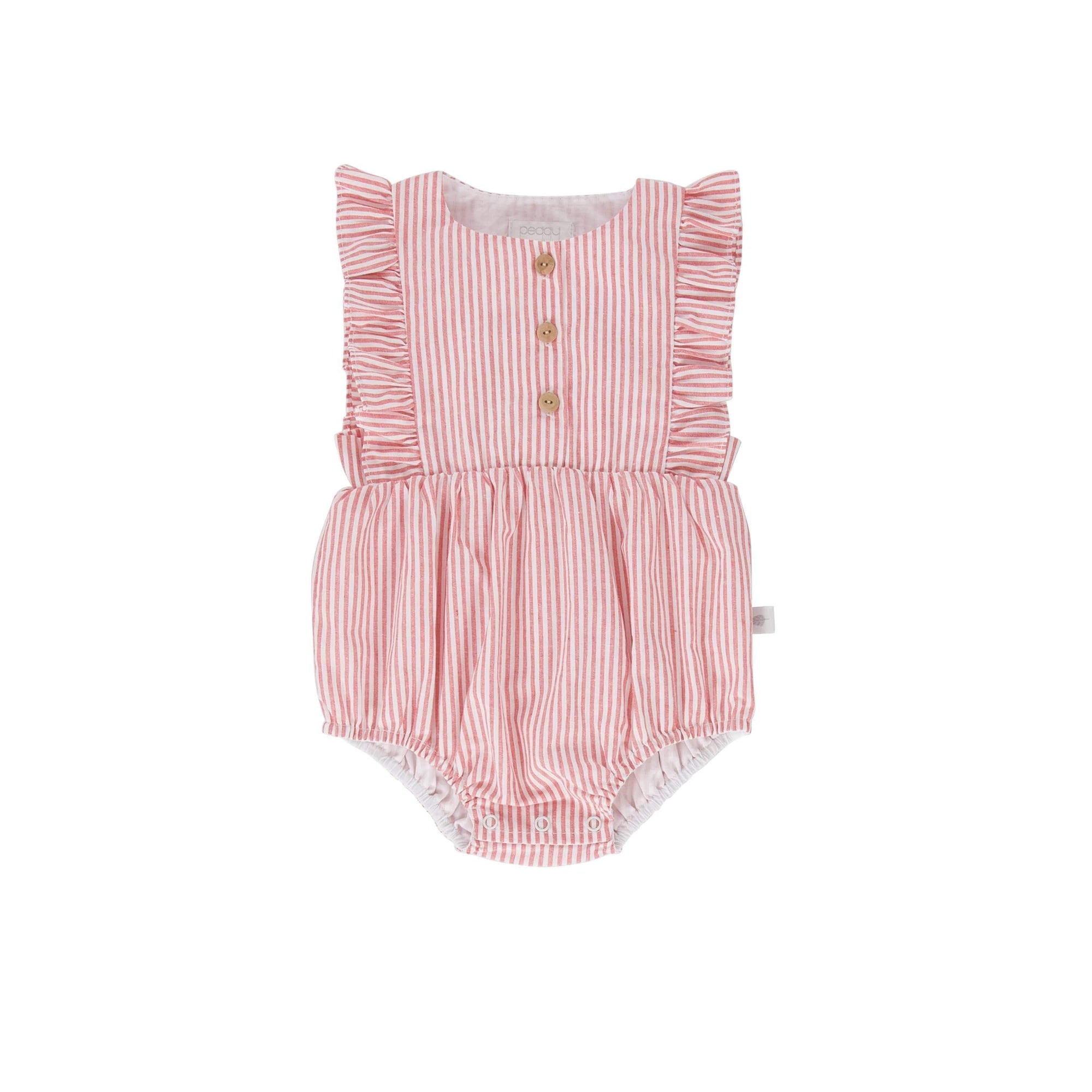 Peggy Playsuit & Jumpsuit 0-3M Peggy August Playsuit Red/White Pinstripe
