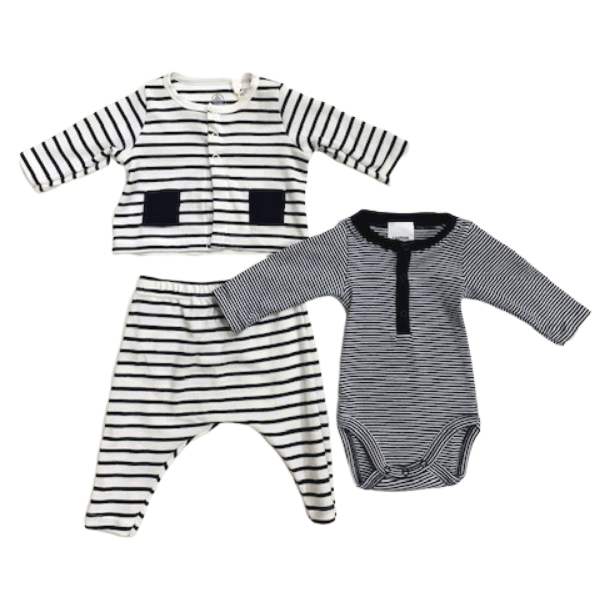 3 Piece Ensemble - Navy Stripe