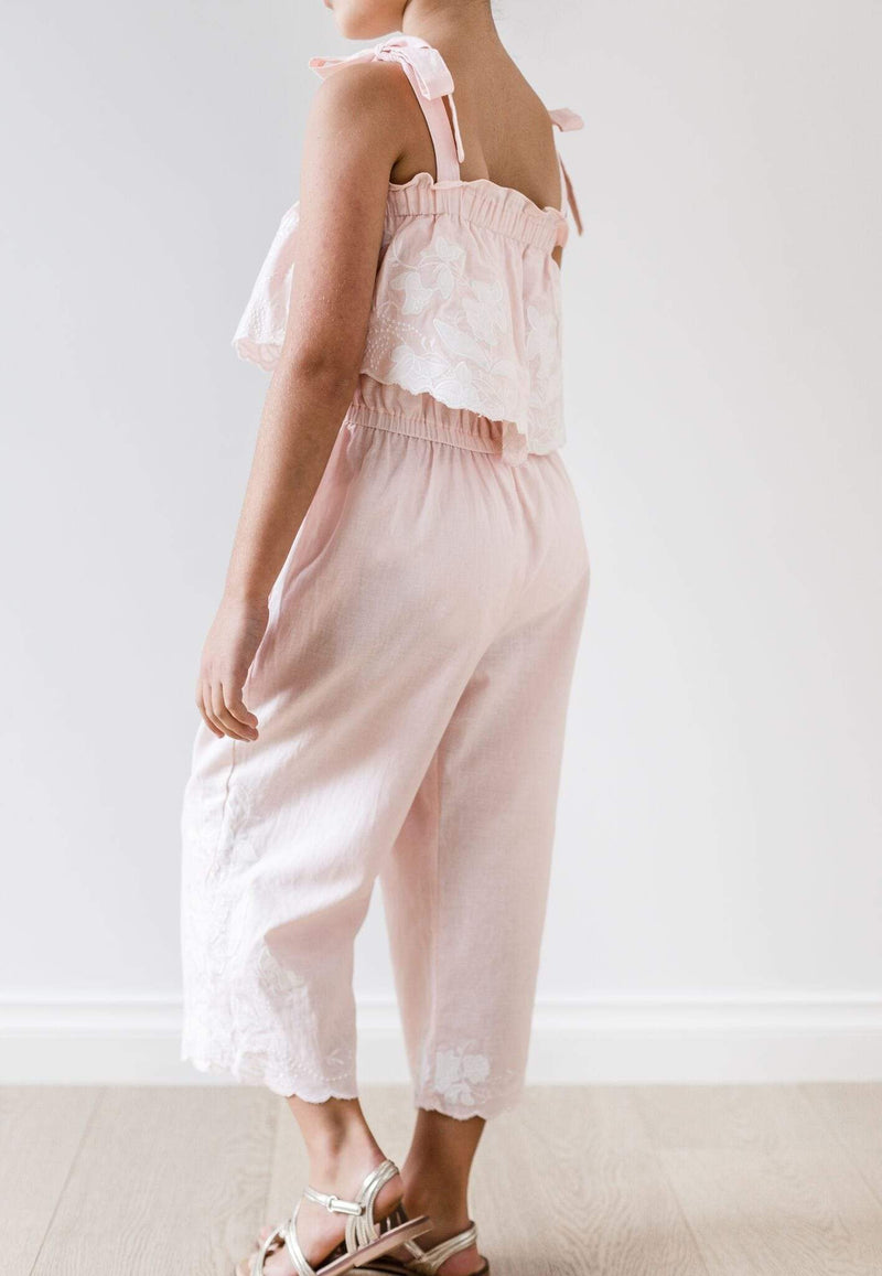 Applique Jumpsuit - Peach