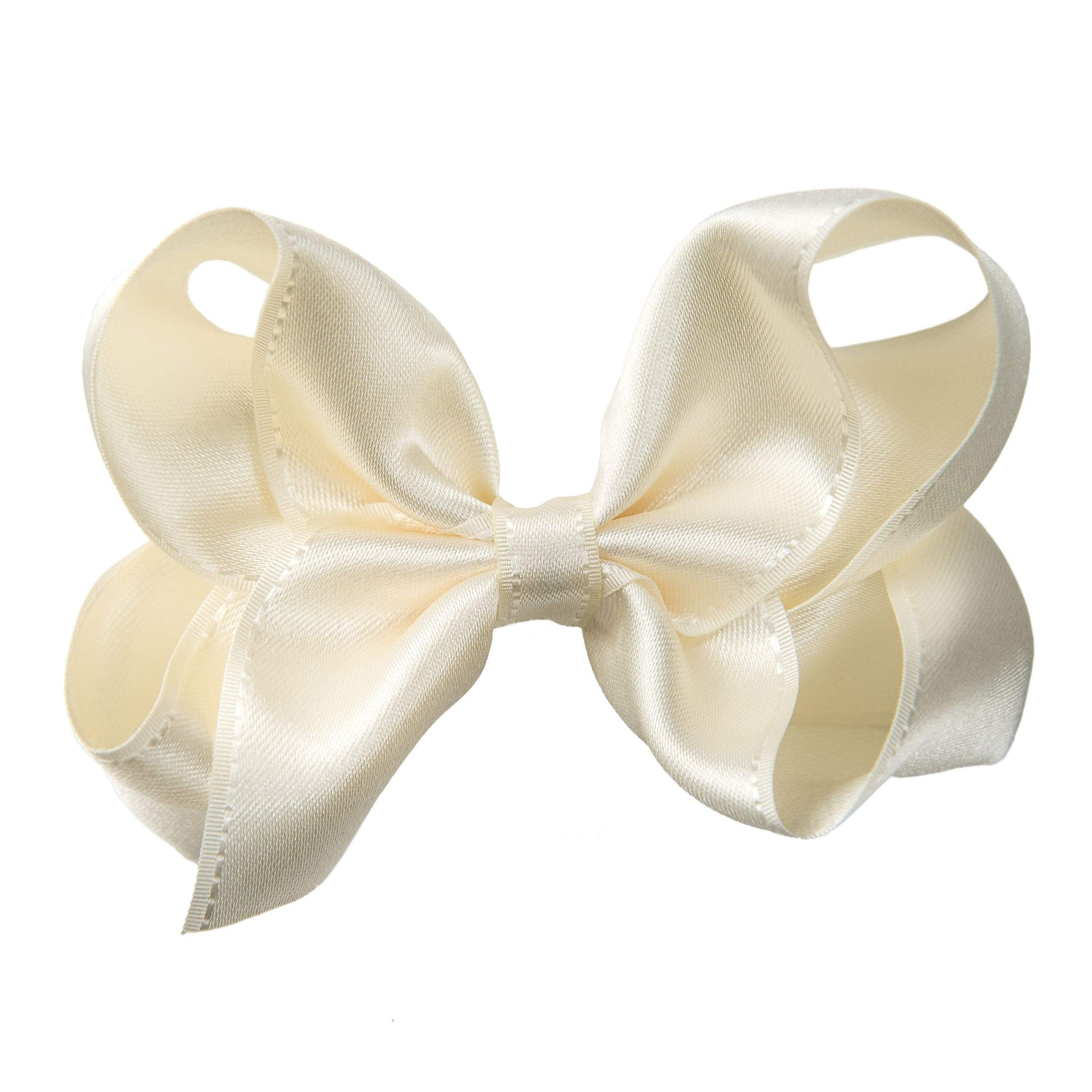 Pixies Bows Hair Clips Pixies Bows Medium Satin Stitch - Ivory