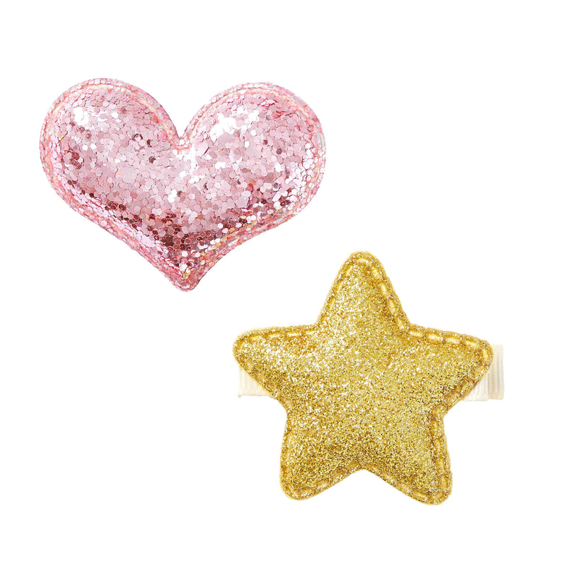 Pixies Bows Small Glitter Star + Heart - Gold & Pink