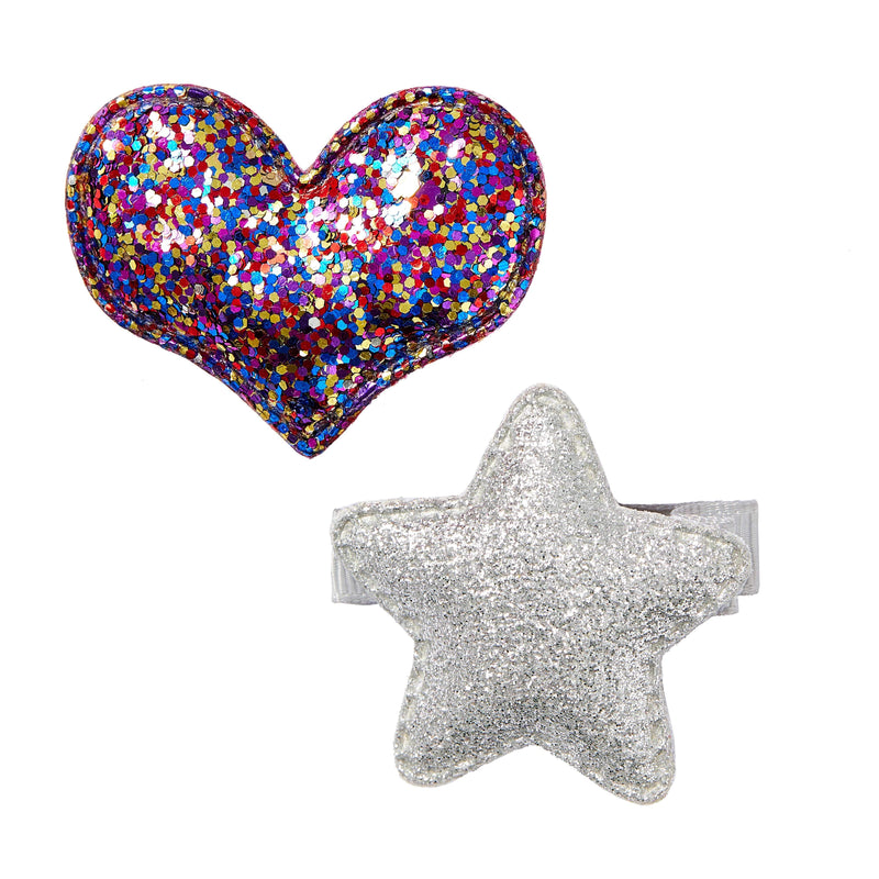 Pixies Bows Small Glitter Star + Heart - Silver & Rainbow