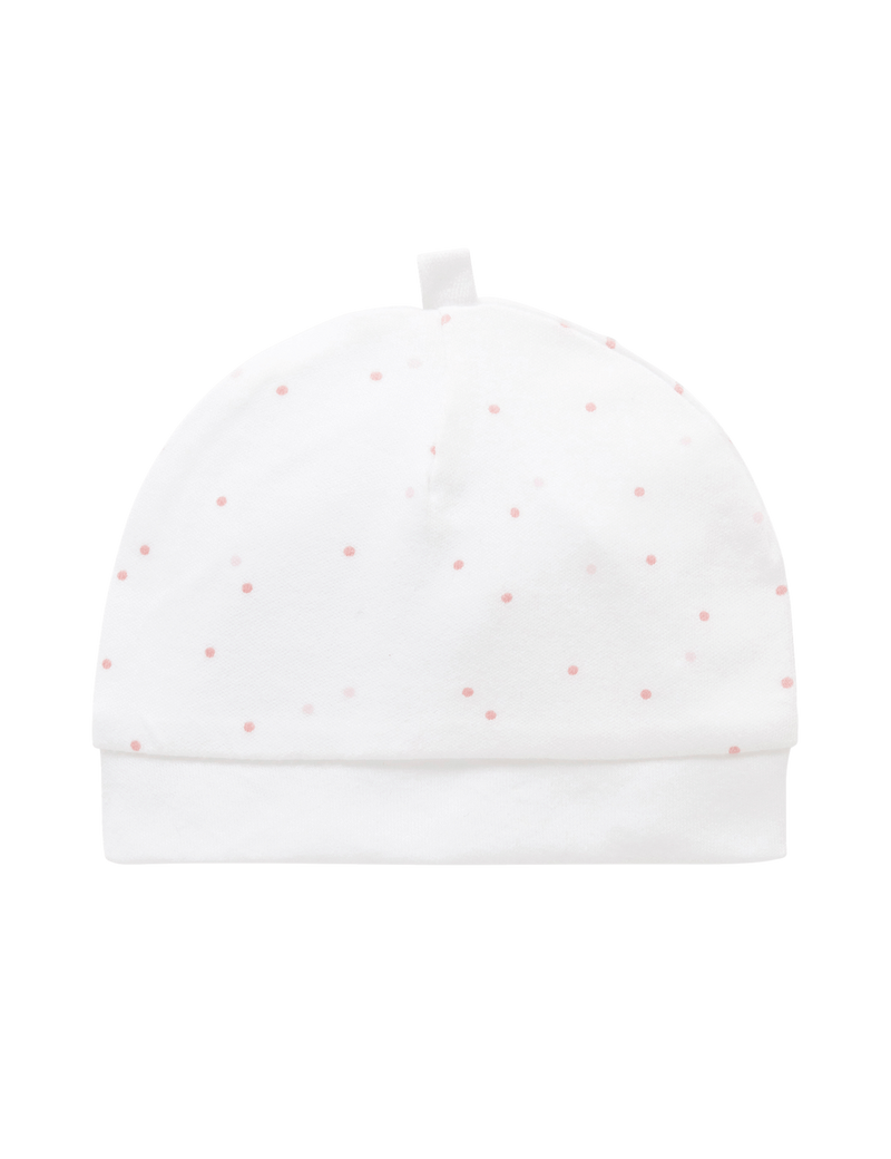 Pure Baby Beanies OS Premature Hat Pale Pink Spot