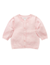 Pure Baby Jumpers Organic Cotton Basic Cardi - Pale Pink melange