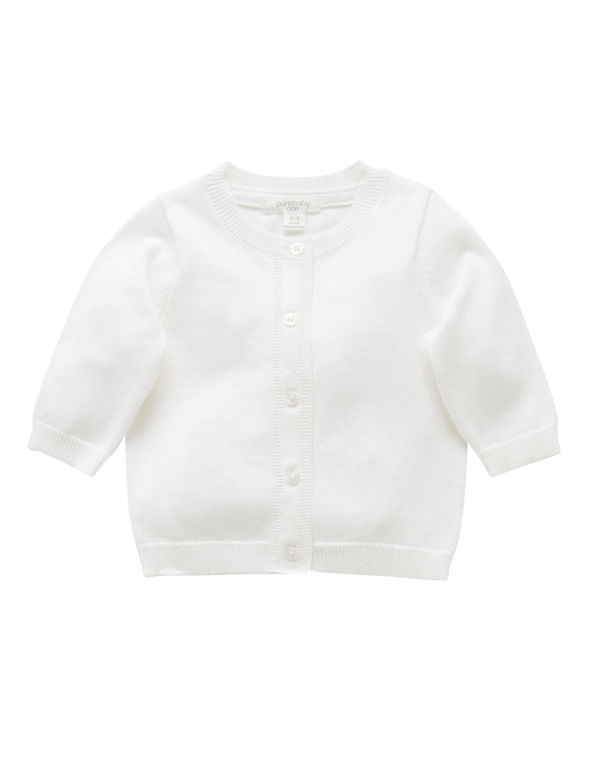 Organic Cotton Basic Cardi - White