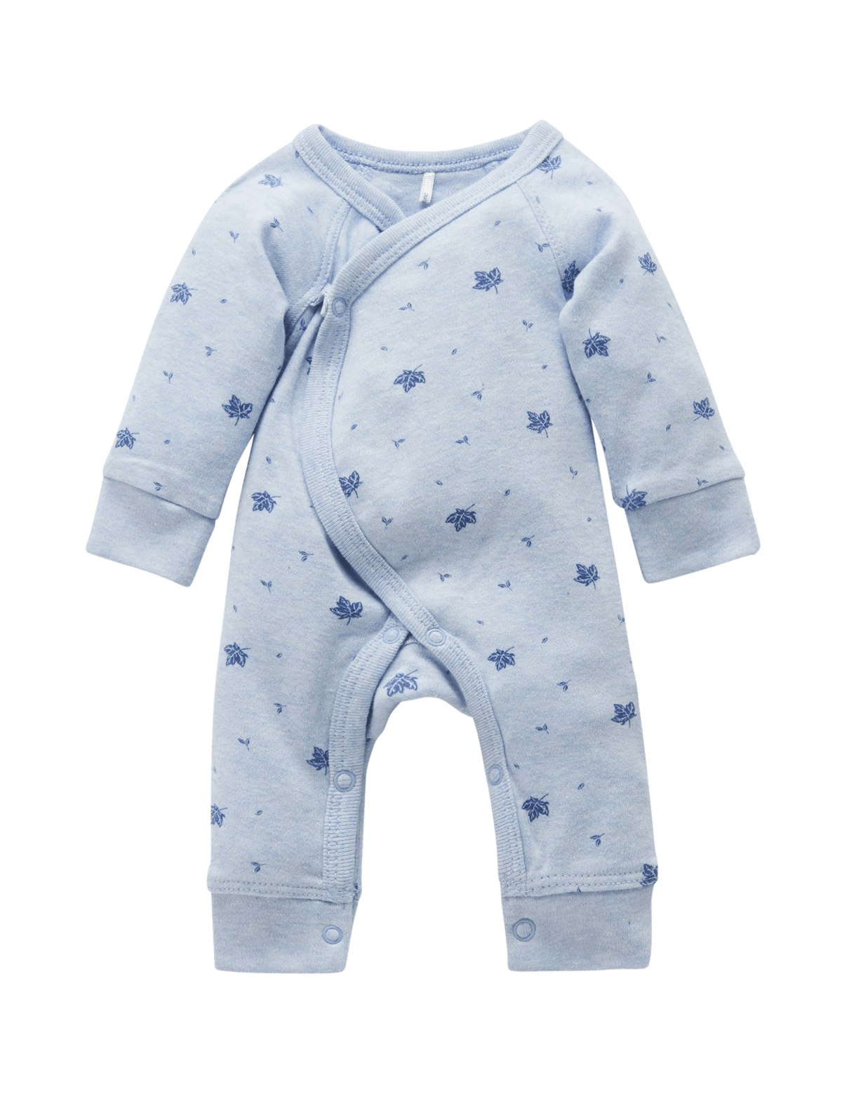 Pure Baby Rompers 2KG Premi Crossover Pale Blue Leaf w Spot