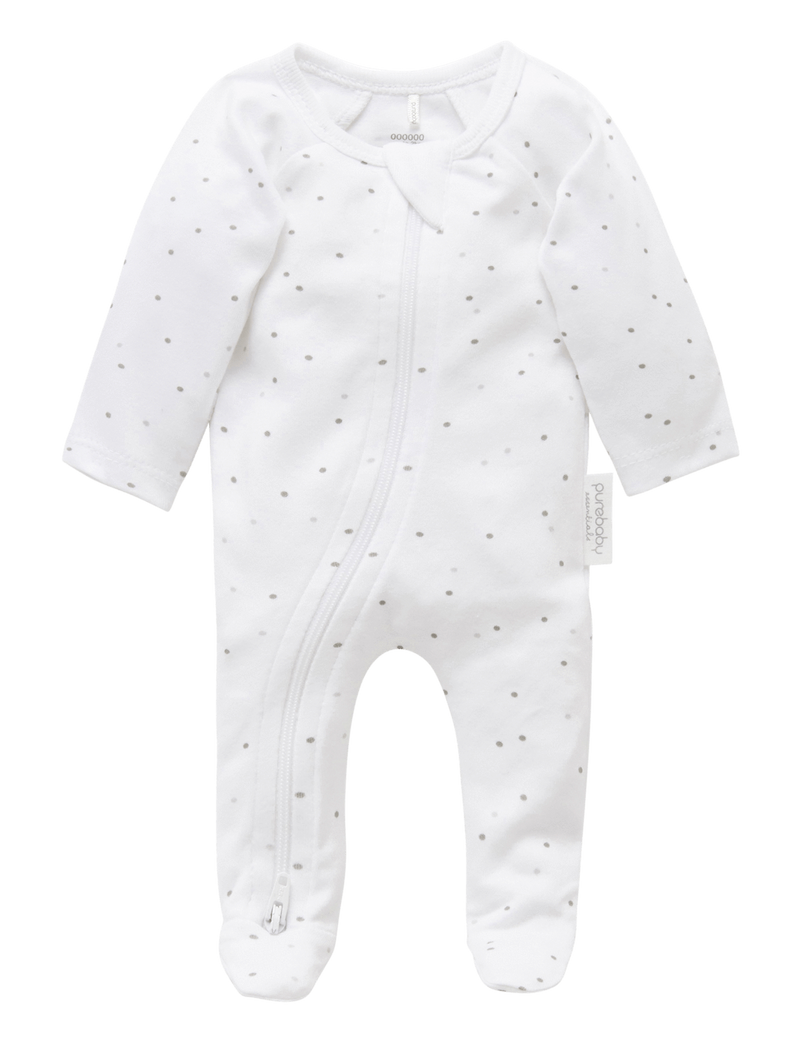 Premie Zip Growsuit - Pale Grey Spot