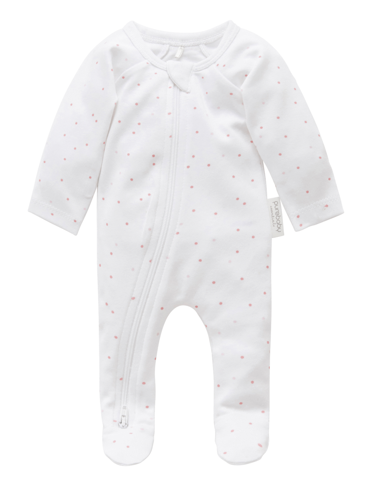Premie Zip Growsuit - Pale Pink Spot