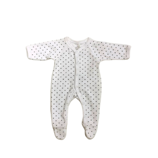 Premmie Growsuit White Grey Spot