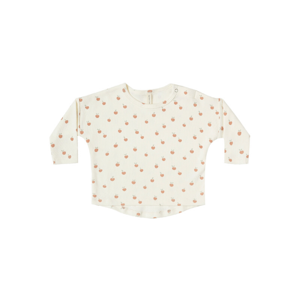 Quincy Mae LS T Shirt LS Baby Tee - Ivory Peach