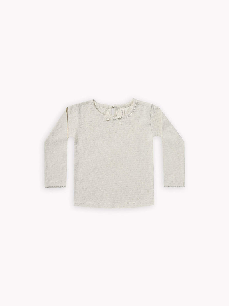 Longsleeve Pointelle Tee - Pebble