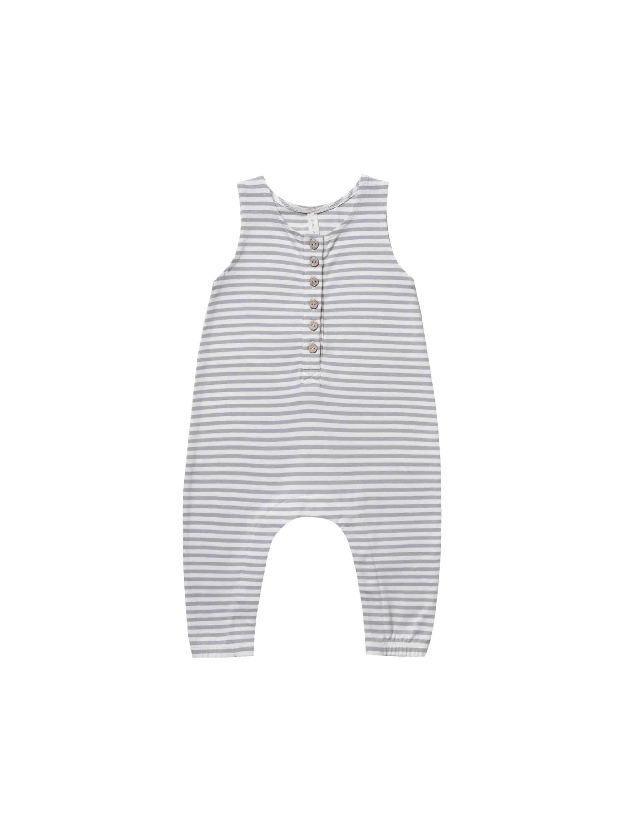 Quincy Mae Sleeveless Jumpsuit - Grey Stripe