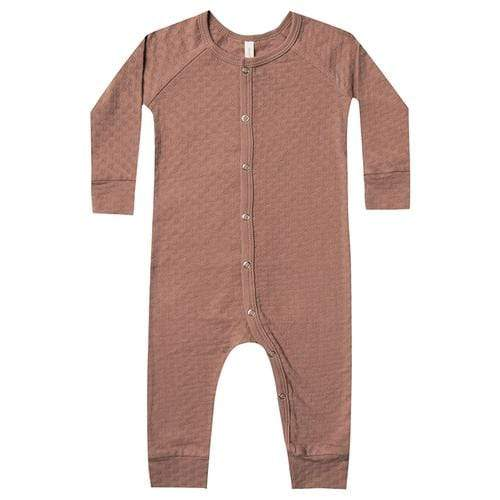 Quincy Mae Rompers 3-6M Pointelle Long John - Clay