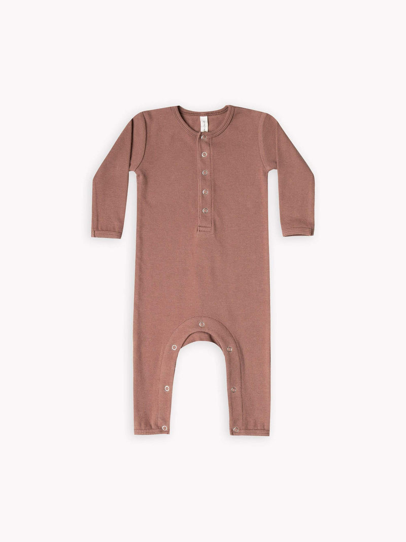 Quincy Mae Rompers 3-6M Ribbed Baby Jumpsuit - Clay