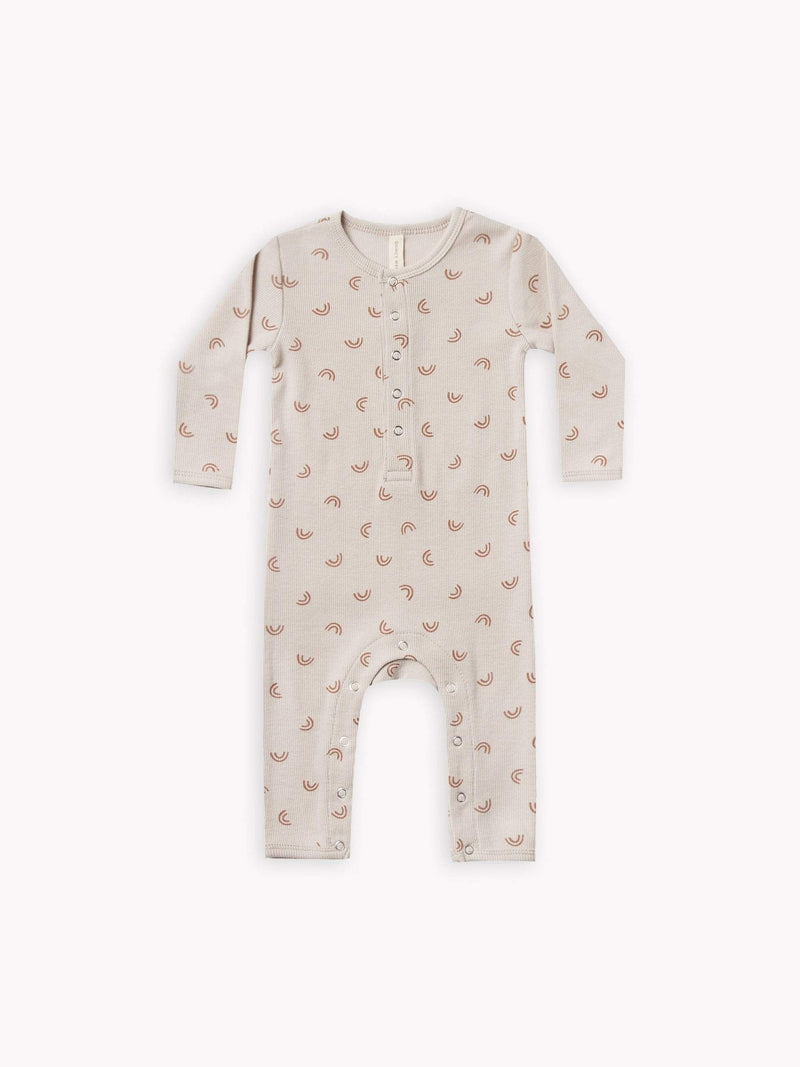 Quincy Mae Rompers 6-12M Ribbed Baby Jumpsuit - Stone