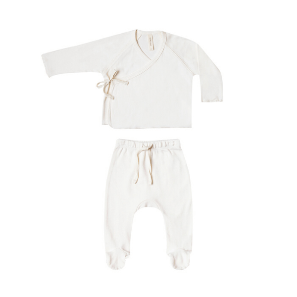 Quincy Mae Rompers Kimono Top + Footed Pant Set - Ivory